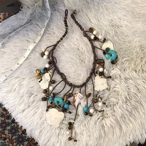 Blue & white Turquoise, Tiger Eye  necklace